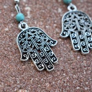 Jewelry - BOHO Hamsa Silver Earrings